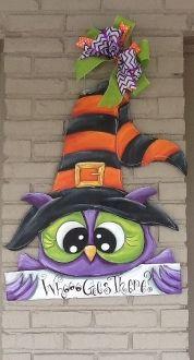 Owl Country Halloween, Halloween Yard Art, Halloween Punch, Halloween Door Hangers, Halloween Lanterns, Halloween Painting, Halloween Ornaments, Halloween Items, Halloween Signs