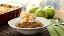 Cinnamon-spiced apples are baked with a sweet oat crumble topping in this easy apple crisp. Serve warm with a scoop of vanilla ice cream.