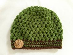 Crochet Beanie  Green and Brown Puff with by NydiaFierroDesigns, $20.00