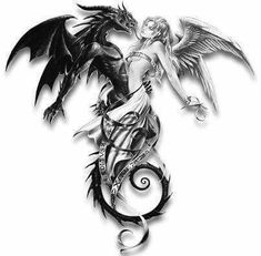 Ciara and Blane - Pinom. Tattoo Sketches, Tattoo Drawings, Body Art Tattoos, Tribal Tattoos, Sleeve Tattoos, Cool Tattoos, Fantasy Dragon, Dragon Art, Fantasy Art