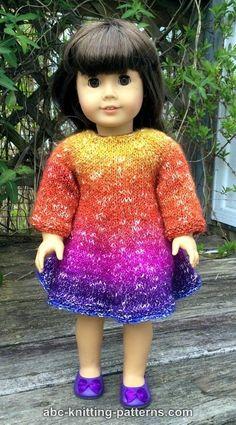 ABC Knitting Patterns - American Girl Doll Flair Skirt Dress