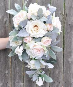 Cascade Wedding Bouquet Cream Rose Apricot Rose Italian