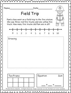 FREEBIE! (5 pages) Addition Word Problem (number line, drawing, ten frame, and equation) (kindergarten and first grade math)