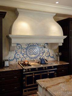 Dream kitchen in dream home. Custom Acanthus kitchen backsplash in Quartz, Lapis Lazuli, Blue Spinel, Mica Jewel Glass