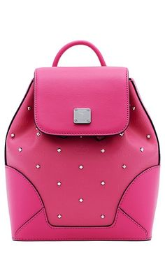 65586129eb9 MCM  Mini Claudia  Studded Coated Canvas Backpack available at