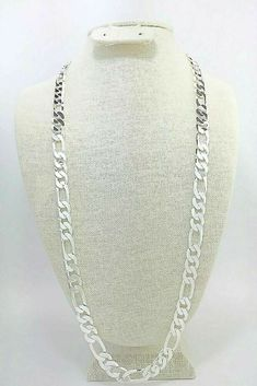 """mens 12mm Figaro Chain necklace 30"""" 925 sterling silver (stamped 925) #Unbranded #Figaro Stylish Jewelry, Fine Jewelry, Affordable Jewelry, Gold Jewellery, Women's Jewelry, Jewelry Design, Jewelry Ideas, Jewelry Making, Craft Jewelry"""