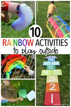Rainbow themed outdoor activities for kids! Kids will love these colorful and fun ideas for backyard play that are all about rainbows - everything from rainbow bubbles to a rainbow obstacle course and more! Perfect for summer outdoor fun.