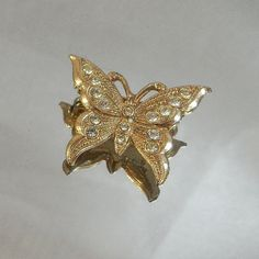 This #vintage #butterfly brooch is gorgeous!   It is filled with clear…