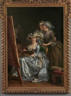 "Self-Portrait with Two Pupils, Marie Gabrielle Capet (1761–1818) and Marie Marguerite Carreaux de Rosemond (died 1788)Artist: Adélaïde Labille-Guiard (* Paris 1749+1803 Paris): 1785 Oil on canvas 83 x 59 1/2 in. (210.8 x 151.1 cm) Classification: Paintings Credit Line: Gift of Julia A. Berwind, 1953 )+oil ""Madam Egle Richemond""⬆)Accession Nr: 53.225.5 Not on view GALLERY LABEL> Adélaïde Labille-Guiard was apprenticed to a miniaturist and later, in 1769, studied pastel with Maurice Quentin de…"