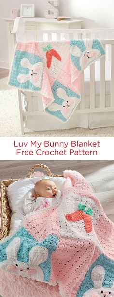 Luv My Bunny Blanket Free Crochet Pattern in Red Heart Yarns -- Nine large patches with appliqued bunnies in the corners and carrots in the center are perfect for keeping baby cozy. This quality yarn has been tested and certified free of over 300 harmful substances, perfect for showing your baby some love.