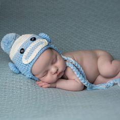 Shades of Blue and Baby Boy Sock Monkey Hat  Melondipity Newborn Hats 342fff1aa7da