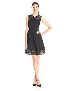Ted Baker Women's Eleese Mesh Detail Skater Dress, Black, 4