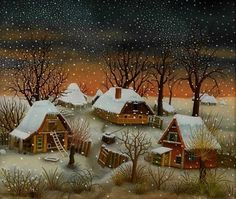 Winter Night' Charming Painting by Ivan Generalic (1914 - 1992 ...