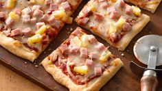 What makes this pizza Hawaiian? A classic combo of tomato sauce, cheese, ham and pineapple. In addition to being super-easy, it's a great way to use up leftover ham.