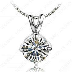 Gorgeous Swarovski Crystal 18K White Gold Plated 1Ct Emulational Diamond Pendant Necklace N172W1
