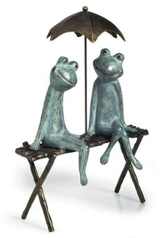 Place this connubial frog couple among the flowers in your landscaping or overlooking a water garden.