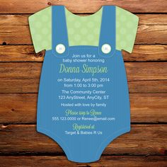 Boy Baby Shower Invitations in blue & green  by LittleBeesGraphics, $31.00