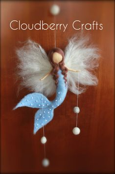 Blue Mermaid - Fairy - Mobile- Guardian Angel-Hanging mobile- Needle Felted-Waldorf- Fiber art-Room Decoration-Birthday Present,Gift, Mobile