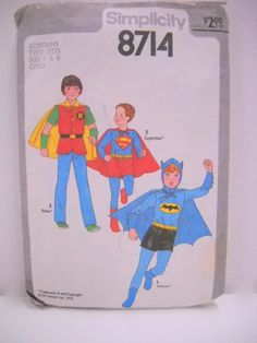 For your little super hero!  Vintage Simplicity 8714 Superhero Costume Pattern by StitchKnit, $20.00