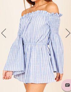 30442f6b29 NWT Showpo sz 12 blue white stripe women playsuit romper jumpsuit off  shoulder  fashion