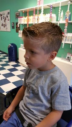 Hip haircut for young boy