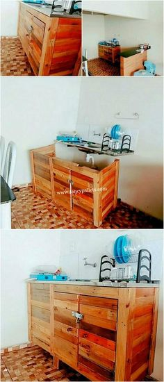 Ideas For Woodworking Cabinets Kitchens Sinks Pallet Projects, Furniture Projects, Diy Furniture, Woodworking Projects, Diy Pallet, Woodworking Clamps, Pallet Wood, Pallet Ideas, Diy Projects