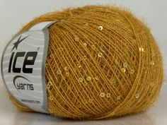 1 SKEIN sequin beaded golden rod yellow sparkly by turkishmarket, $5.00