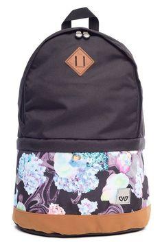 Mochila escolar Cavalier preta com estampa floral - Enluaze Loja Virtual | Bolsas, mochilas e pastas