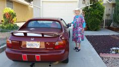 Mother and I head out for groceries in my adorable red 1995 Honda Del Sol. Quite a difference from the huge truck we rented in Alaska. Huge Truck, San Jacinto, Alaska, Red, Honda Del Sol