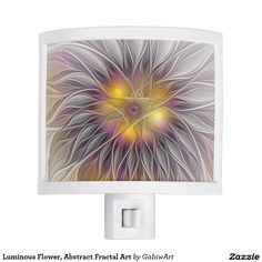 Luminous Flower, Abstract Fractal Art Night Light