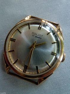 Poljot USSR CCCP wristwatch, 14K real goldcase (.538 Sovjet goldstamp) VERY RARE