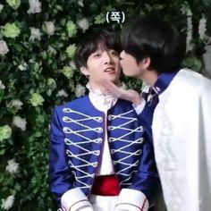 here's taehyung bringing jungkook in by his chin and giving him a smooch on the cheek back on all of ur tls Bts Taehyung, Bts Bangtan Boy, Bts Jimin, Taekook, Foto Bts, Namjin, Jung Hoseok, Bts Funny Moments, Bts Maknae Line