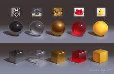 Material Study by Neskvik on DeviantArt Blender 3d, Digital Painting Tutorials, Digital Art Tutorial, Art Tutorials, 3d Drawing Techniques, 8bit Art, Illustrator, Poses References, 3d Texture