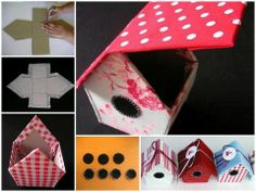 These adorable birdhouse treat boxes make great birthday party favors! You can make your own with this simple step-by-step tutorial! Fabric Crafts, Paper Crafts, Diy And Crafts, Crafts For Kids, Birdhouse Craft, Diy Cardboard, Fabric Houses, Bird Houses, Diy Tutorial