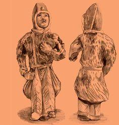 В погребальном комплексе танского времени (cередина VII в.), раскопанном в округе Сяньюань провинции Шаньси, была обнаружена глиняная фигурка всадника высотой 26 см. На ней хорошо видны ноговицы, крепящиеся кпоясу, раскрашенные узором, копирующим тигровую шкуру. Полы меховой шубы также заправлены за пояс. В этом скульптурном изображении передан образ чужестранца, одетого в необычные для Китая костюмы. Прорисовка Е. Шумаковой