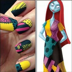 nightmare before christmas nails Halloween nails! Get Nails, Love Nails, How To Do Nails, Pretty Nails, Hair And Nails, Matte Nails, Halloween Nail Designs, Halloween Nail Art, Cute Nail Designs