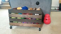 Toy storage is a challenge for all dog owners, not just the ones with toy obsessed freak-dogs like I have. Heather of OK Collars, used to use plastic bins for toy storage until she found that cheap plastic bins were not made to withstand the test of time in a house with two boisterous labs. Her DIY Wood crate toy box is a simple and stylish solutio