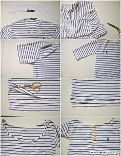 Sew Men Clothes C: Turn a men's polo into loose top with fun buttons refashion (and it's reversible!) ---I totally didn't realize she was pregnant in the first picture--it's still a good idea nonetheless Polo Shirt Refashion, Diy Clothes Refashion, T Shirt Diy, Diy Clothing, Diy Clothes Videos, Clothes Crafts, Sewing Clothes, Men Clothes, Diy Clothes Organiser
