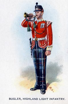 Highland Light Infantry, Bugler from Bands of the British Army by W. Gordon and illustrated by F. British Army Uniform, British Uniforms, British Soldier, Military Art, Military History, Military Uniforms, Commonwealth, Drum Major, Highlanders