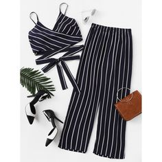 Suit Type: Pants Color: Navy Material: Polyester Pattern Type: Striped Neckline: Spaghetti Strap Sleeve Length: Sleeveless Decoration: Knot Style: Sexy Bust (cm): S: 60-118 cm, M: 64-122 cm, L: 68-126 cm Waist Size (cm): S: 60-104 cm, M: 64-108 cm, L: 68-112 cm Hip Size (cm): S: 107 cm, M: 111 cm, L: 115 cm Thigh (cm):