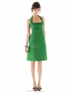 64quid A-line Halter Tea-length Emerald Stain Prom Dress