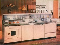 "1958.  Love this...one unit with a sink, dishwasher, disposal, cooktop, washer-dryer combination and ""cabinette"" for storage with flourescent lights and it comes complete with a built-in radio!  Very cool, but I wonder about how it was to service."