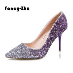 Find More Women's Pumps Information about New crystal women shoes high heels sexy pointy glitter leather thin heels comfortable pumps wedding shoes sapatos feminino,High Quality shoe illustrations,China shoe size 10 44 Suppliers, Cheap shoes gallery from Fancy-Zhu on Aliexpress.com