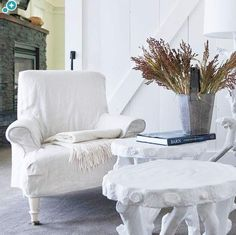 FFF_3- Super Slipcovers Slipcovers offer a quick and easy furniture updates. White slipcovers like the ones on these comfy chairs work the best because they can be easily bleached and pressed. Plus, the clean look blends with any number of accessories.