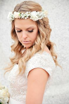 Wedding Gown. Utah wedding photography. AlliChelle Photography. Modest wedding dress. Blush ballgown. Buttons and beading on wedding gown. Salt Lake Temple wedding. Bridal hair floral crown