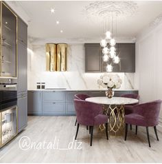 Perfect Dining Suites For Luxury Interior Dining Room Design, Interior Design Kitchen, Modern Interior Design, Interior Sketch, Simple Interior, Design Bathroom, Purple Kitchen Decor, Kitchen Colors, Küchen Design