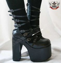 Cyber Gothic Lolita 8 Strap Buckle Boot