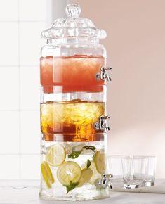Stacked Optic-Glass Beverage Server - modern - serveware - - by Horchow Modern Serveware, Drink Dispenser, Drink Holder, Glass Dispenser, Kitchenware, Cool Kitchens, Inventions, Party Time, Home Decor Ideas