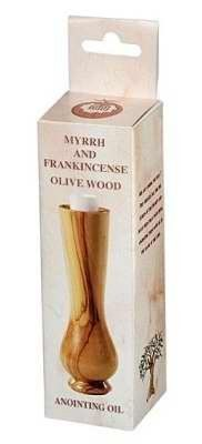 Anointing Oil Frankincense & Myrrh Olivewood Bottle 1/3 oz by Holy Land Gifts. $13.29