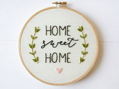 Home Sweet Home Art, Embroidered Hoop Sign, Housewarming Gift, Unique Home Decor, Stitched Art, Quote Wall Hanging
